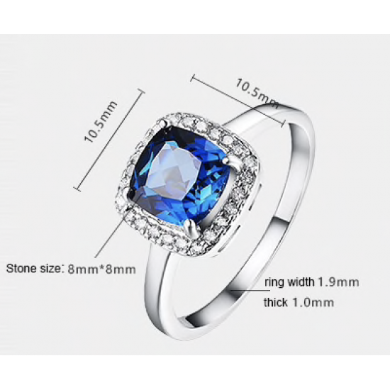 14K Solid White Gold Ring, Solitaire Round CZ Blue Stone Women Ring ,Unique Design - New Zealand