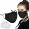 3 PCS -PACK MASK - 3D  With 6 pieces PM2.5 Filters Fashion Black  Cotton Soft Mask , Face Covering With Comfortable adjustable Earloop Washable Reusable  Breathing Mask  For Adults