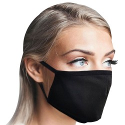5 PCS -PACK MASK - 3D Fashion Black  Cotton Soft Mask , Face Covering With Comfortable And Adjustable Earloop Washable Reusable  Breathing Mask  For Adults