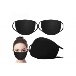 5 PCS -PACK MASK - 3D Fashion Black  Cotton Soft Mask , Face Covering With Comfortable Earloop Washable Reusable  Breathing Mask  For Adults