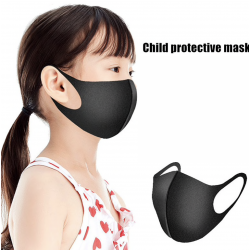 5 PCS -PACK MASK - 3D Fashion Black Mask Washable Reusable elastic Earloop Face Breathing Mask  For Children