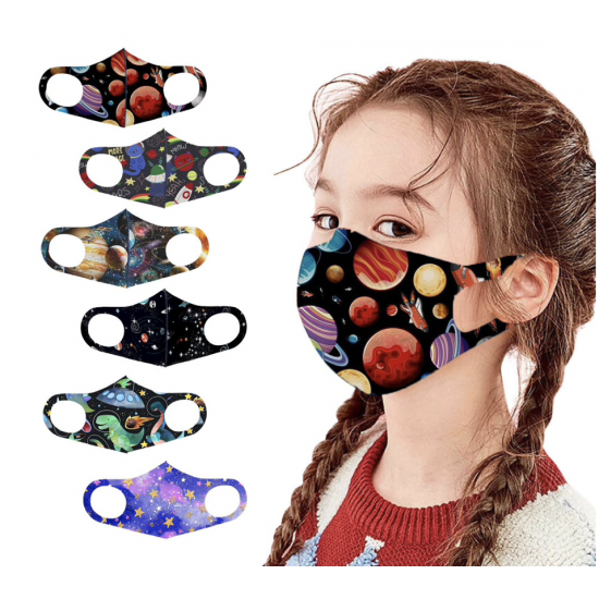 5 PCS -PACK MASK - 3D Fashion Colourful Mask Washable Reusable elastic Earloop Face Breathing Mask  For Children