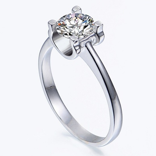 14K Solid White Gold Ring, Solitaire Round CZ Stone Women Ring ,Unique Design - New Zealand
