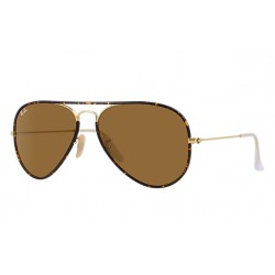 Ray-Ban Aviator  Sunglasses RB3025JM Model 001  Tortoise, Gold Frame With  Brown Classic B-15 Lens Sunglasses