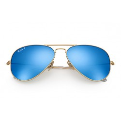 Ray-Ban Aviator  Sunglasses RB3025  Model 112/4L  Gold Frame With Polarised Blue Flash Lens Sunglasses