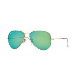 Ray-Ban Aviator  Sunglasses RB3025   Gold Frame With Polarised Green Flash Lens Sunglasses