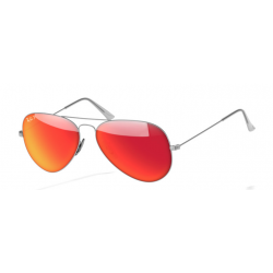 Ray-Ban Aviator  Sunglasses RB3025   Silver Frame With Polarised Orange Flash Lens Sunglasses