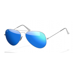 Ray-Ban Aviator  Sunglasses RB3025  Silver Frame With Blue Flash Lens Sunglasses