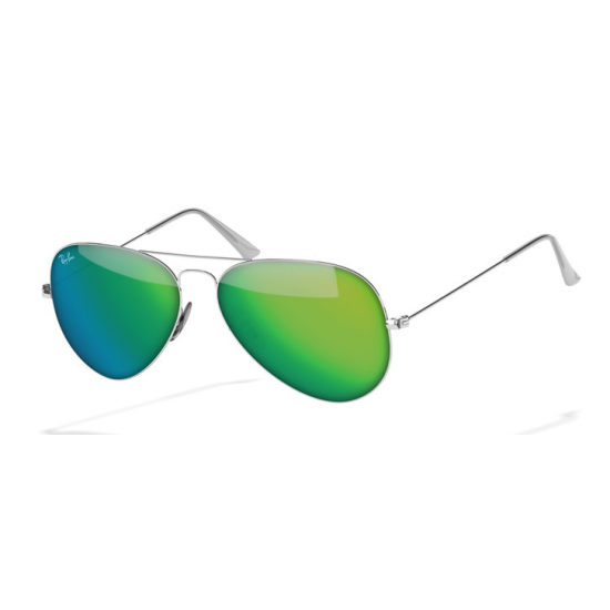 Ray-Ban Aviator  Sunglasses RB3025  Silver Frame With Green Flash Lens Sunglasses