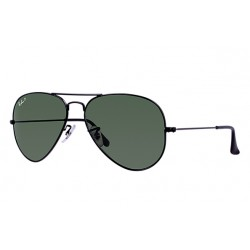 Ray-Ban Aviator  Sunglasses RB3025  Model 002/58 Black Frame With Polarised Green Classic G-15   Lens Sunglasses