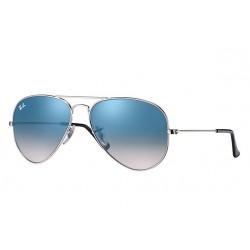 Ray-Ban Aviator  Sunglasses RB3025   Silver  Frame With  Light Blue Gradient Lens Sunglasses