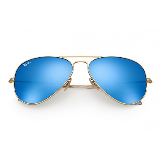 Ray-Ban Aviator  Sunglasses RB3025   Model 112-17 Gold Frame With Blue Flash Lens Sunglasses
