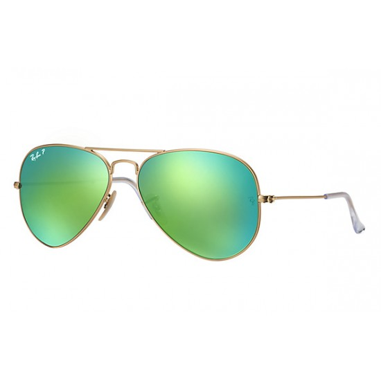 Ray-Ban Aviator  Sunglasses RB3025   Model 112-P9 Gold Frame With Green Flash Lens Sunglasses
