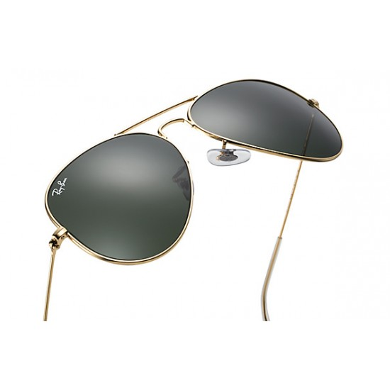 Ray-Ban Aviator  Sunglasses RB3025   Model L0205 Gold Frame With G-15 Green Lens Sunglasses