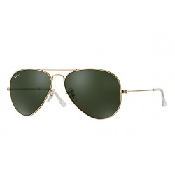 Ray-Ban Aviator  Sunglasses RB3025  Model 001/58 Gold Frame With Polarised Green Classic G-15   Lens Sunglasses