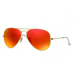 Ray-Ban Aviator  Sunglasses RB3025   Model 112-69 Gold Frame With Red Flash Lens Sunglasses
