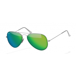 Ray-Ban Aviator  Sunglasses RB3025   Silver Frame With Polarised Green Flash Lens Sunglasses
