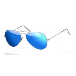 Ray-Ban Aviator  Sunglasses RB3025   Silver Frame With Polarised Blue Flash Lens Sunglasses