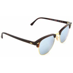 Ray-Ban Clubmaster Sunglasses RB3016  Model 1145/30 Tortoise Frame - Light Green Mirror Silver  Lens
