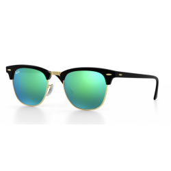 Ray-Ban Clubmaster Sunglasses RB3016  Black Frame - Flash Green  Lens