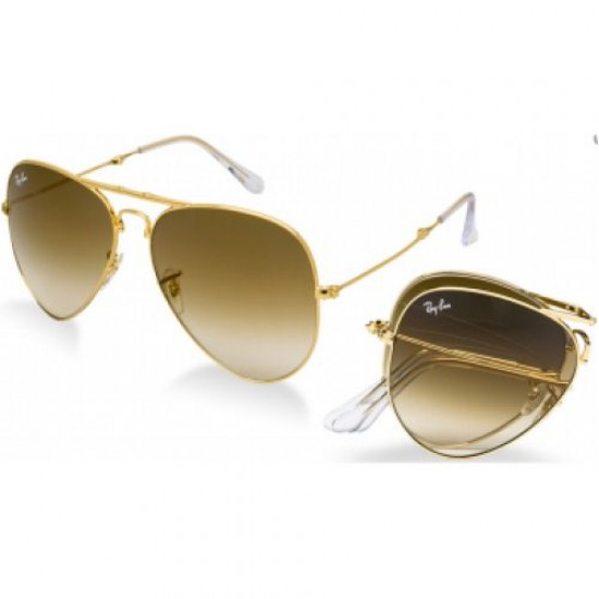 Ray-Ban  Folding Aviator  Sunglasses RB3479   Model 001/51Gold Frame With  Light Brown Gradient Lens Sunglasses