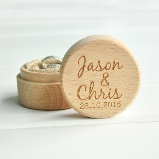 Personalized Rustic Wedding Wood Ring Box Holder Custom Your Names and Date Wedding Ring Bearer Box