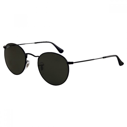 06070706e8 Ray-Ban Round Metal Sunglasses RB3447 Black Frame With Classic Green G-15  Lens Sunglasses