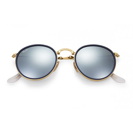 Ray-Ban Round Metal  Folding Sunglasses RB3517 Model  001/30 Gold Frame With Blue Silver Flash Lens Sunglasses
