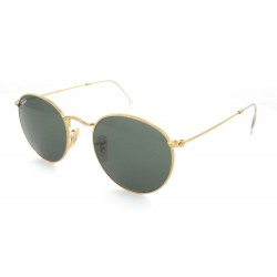 Ray-Ban Round Metal  Sunglasses RB3447  Model 001 Gold Frame With  Classic Green G-15 Lens Sunglasses