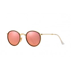 Ray-Ban Round Metal  Folding Sunglasses RB3517 Model 001/Z2 Gold Frame With Cooper Flash Lens Sunglasses
