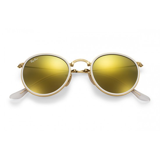 Ray-Ban Round Metal  Folding Sunglasses RB3517 Model 001/93 Gold Frame With Yellow  Flash Lens Sunglasses